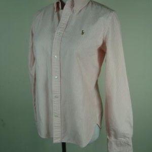 RALPH LAUREN pink white striped LS shirt 10